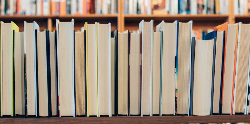 Books lined up on a shelf