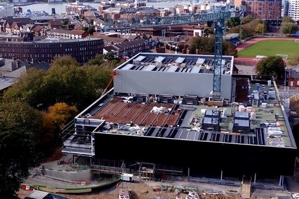 Drone footage of the Ravelin Sports Centre roof under construction
