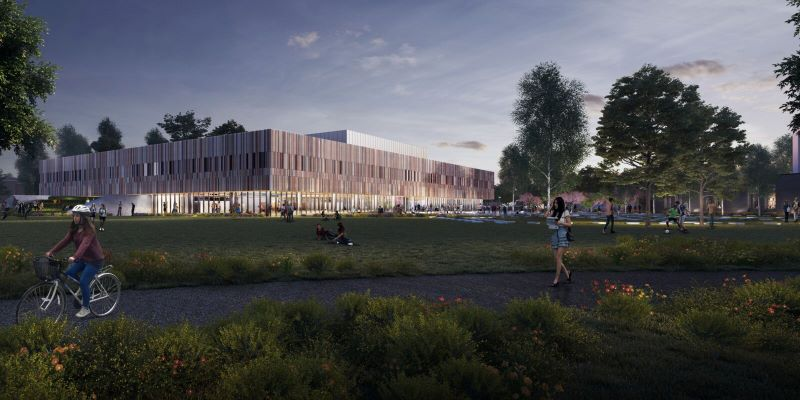 Rendered image of Ravelin Sports Centre at dusk