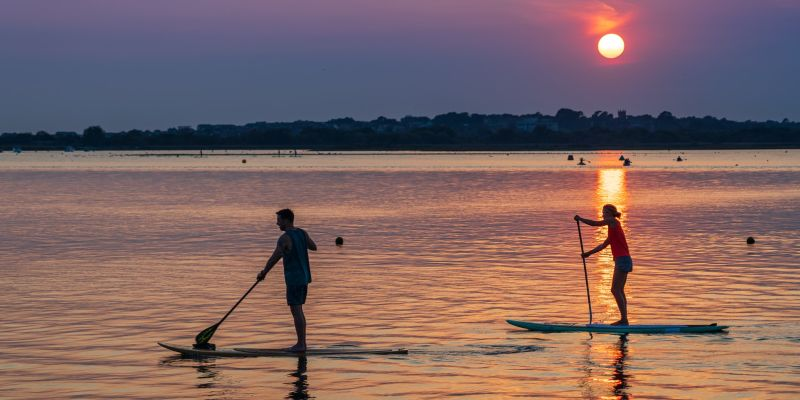Two paddle boarders on water