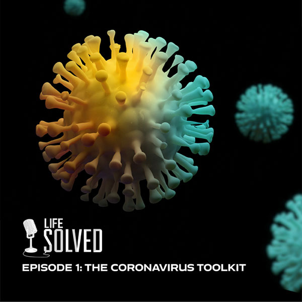 3D visualisation of COVID virus cell in yellow and green. Life Solved logo and title at bottom.