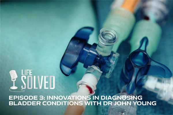 Close up of a catheter. Life Solved logo and title at bottom.