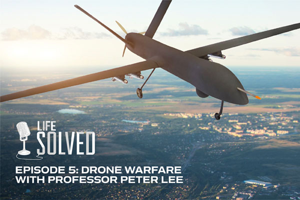 Military drone in the air above land. Life Solved logo and title.
