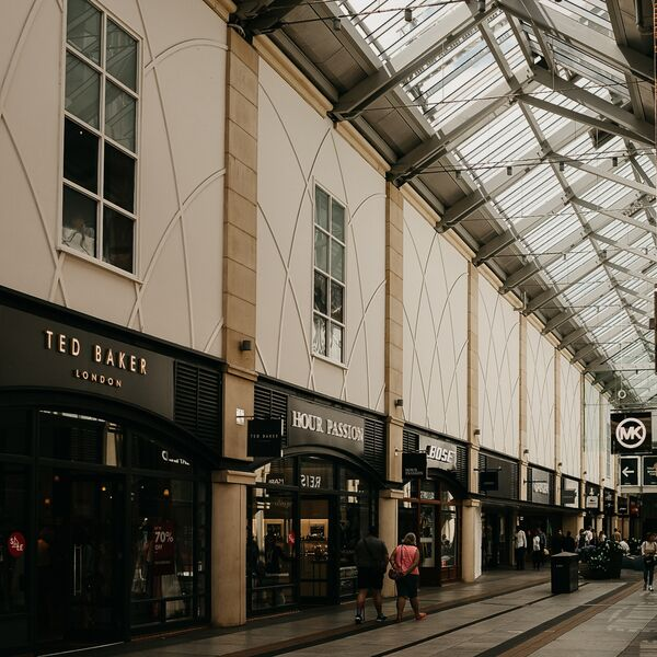 Inside Gunwharf Quays outlet shopping centre