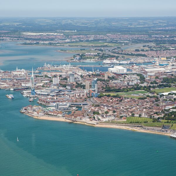 An aerial shot of Portsmouth